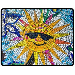 Sun From Mosaic Background Double Sided Fleece Blanket (Medium)