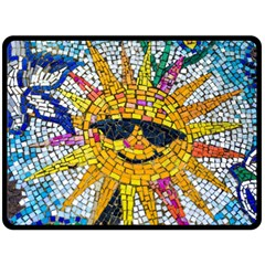 Sun From Mosaic Background Double Sided Fleece Blanket (large)