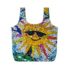 Sun From Mosaic Background Full Print Recycle Bags (m)