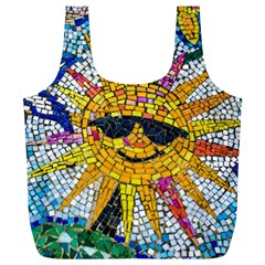 Sun From Mosaic Background Full Print Recycle Bags (l)