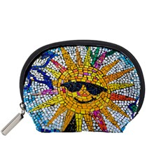 Sun From Mosaic Background Accessory Pouches (small)