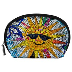 Sun From Mosaic Background Accessory Pouches (large)
