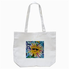 Sun From Mosaic Background Tote Bag (white)