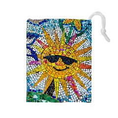 Sun From Mosaic Background Drawstring Pouches (Large)