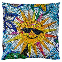 Sun From Mosaic Background Large Flano Cushion Case (two Sides)