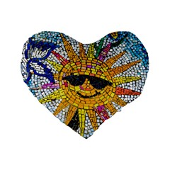 Sun From Mosaic Background Standard 16  Premium Flano Heart Shape Cushions
