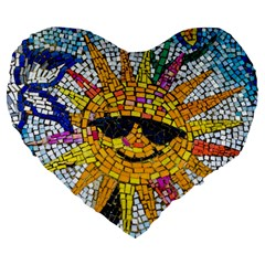Sun From Mosaic Background Large 19  Premium Flano Heart Shape Cushions