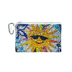 Sun From Mosaic Background Canvas Cosmetic Bag (S)