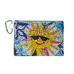 Sun From Mosaic Background Canvas Cosmetic Bag (M)