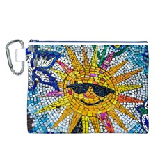 Sun From Mosaic Background Canvas Cosmetic Bag (L)