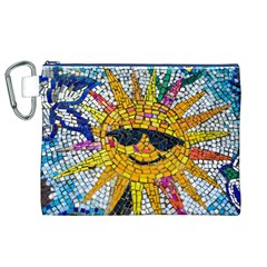 Sun From Mosaic Background Canvas Cosmetic Bag (xl)