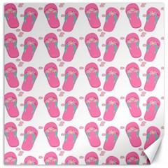 Flip Flops Flower Star Sakura Pink Canvas 16  x 16