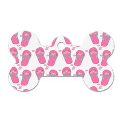 Flip Flops Flower Star Sakura Pink Dog Tag Bone (One Side)