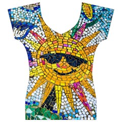 Sun From Mosaic Background Women s V-Neck Cap Sleeve Top