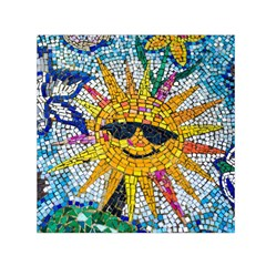 Sun From Mosaic Background Small Satin Scarf (Square)