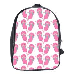 Flip Flops Flower Star Sakura Pink School Bags(Large)