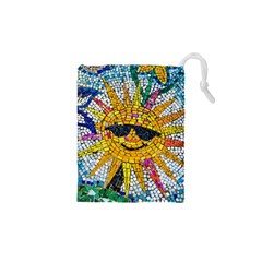 Sun From Mosaic Background Drawstring Pouches (XS)