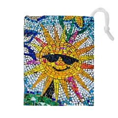 Sun From Mosaic Background Drawstring Pouches (Extra Large)
