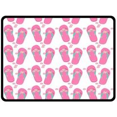 Flip Flops Flower Star Sakura Pink Double Sided Fleece Blanket (Large)
