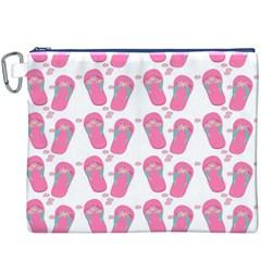 Flip Flops Flower Star Sakura Pink Canvas Cosmetic Bag (XXXL)