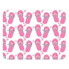 Flip Flops Flower Star Sakura Pink Double Sided Flano Blanket (Large)