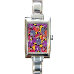 Colorful Floral Pattern Background Rectangle Italian Charm Watch