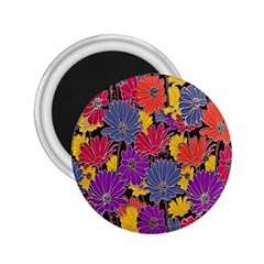 Colorful Floral Pattern Background 2.25  Magnets