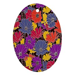 Colorful Floral Pattern Background Ornament (Oval)