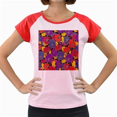 Colorful Floral Pattern Background Women s Cap Sleeve T Shirt