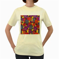 Colorful Floral Pattern Background Women s Yellow T-Shirt