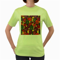 Colorful Floral Pattern Background Women s Green T-Shirt