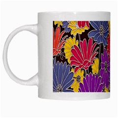 Colorful Floral Pattern Background White Mugs
