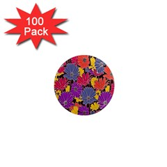 Colorful Floral Pattern Background 1  Mini Magnets (100 pack)