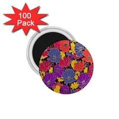 Colorful Floral Pattern Background 1.75  Magnets (100 pack)