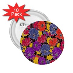 Colorful Floral Pattern Background 2 25  Buttons (10 Pack)