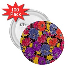 Colorful Floral Pattern Background 2.25  Buttons (100 pack)