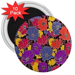 Colorful Floral Pattern Background 3  Magnets (10 pack)