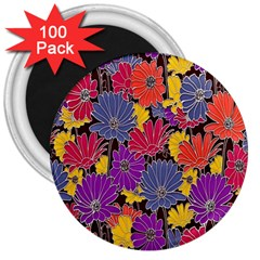 Colorful Floral Pattern Background 3  Magnets (100 Pack)