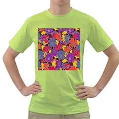 Colorful Floral Pattern Background Green T-Shirt