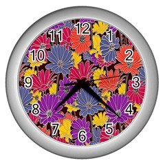 Colorful Floral Pattern Background Wall Clocks (silver)