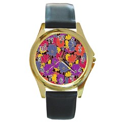 Colorful Floral Pattern Background Round Gold Metal Watch