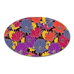 Colorful Floral Pattern Background Oval Magnet
