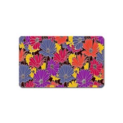 Colorful Floral Pattern Background Magnet (Name Card)