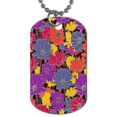 Colorful Floral Pattern Background Dog Tag (One Side)