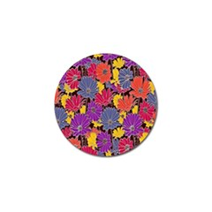 Colorful Floral Pattern Background Golf Ball Marker (4 Pack)