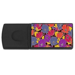Colorful Floral Pattern Background USB Flash Drive Rectangular (1 GB)