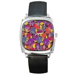 Colorful Floral Pattern Background Square Metal Watch