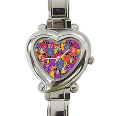 Colorful Floral Pattern Background Heart Italian Charm Watch