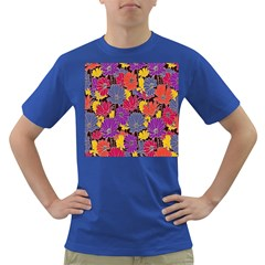 Colorful Floral Pattern Background Dark T Shirt