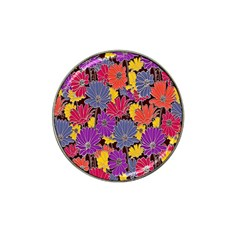Colorful Floral Pattern Background Hat Clip Ball Marker (4 pack)